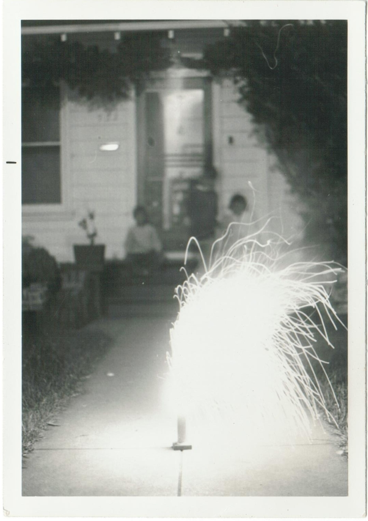 Sparkler on a walkway