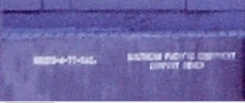 zoomed in of side showing lettering on SP 3189 that seems to read ??????0-4-77-SAC.