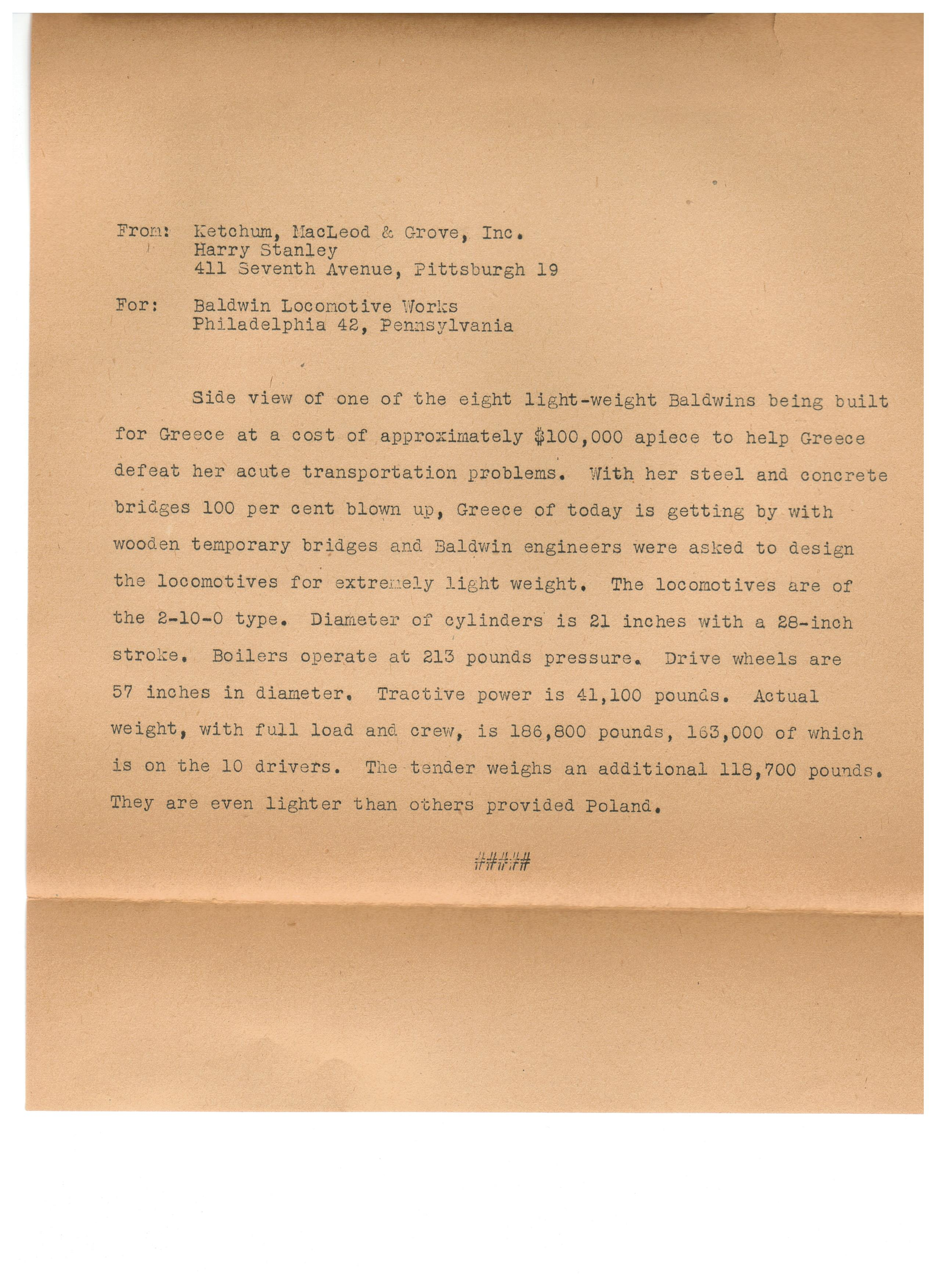 Image of a letter explaining the purpose of teh made - for Greece steamer.
