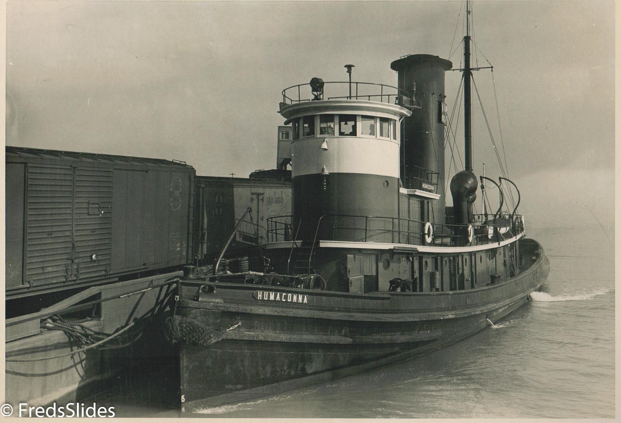 Tug Boat Humaconna Entering the slips at 25st , November 1946. Photo by WM A. Pennington Engineer Western Division