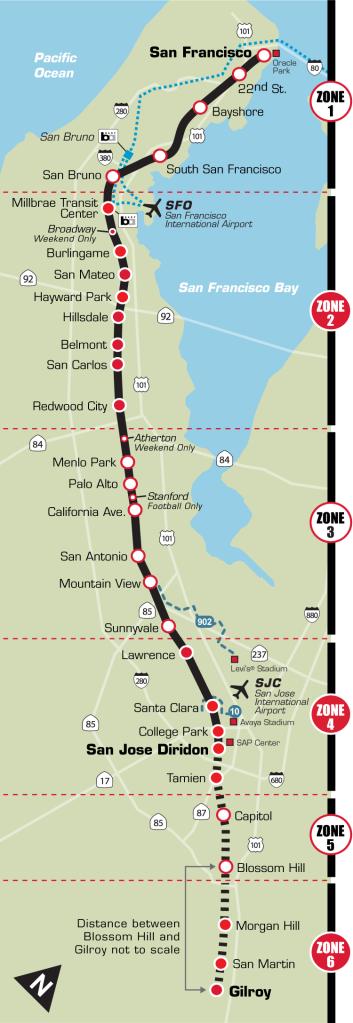 CalTrain public transit map