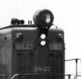 Close up photo of teh high mounted head lamp on SP engine 3822