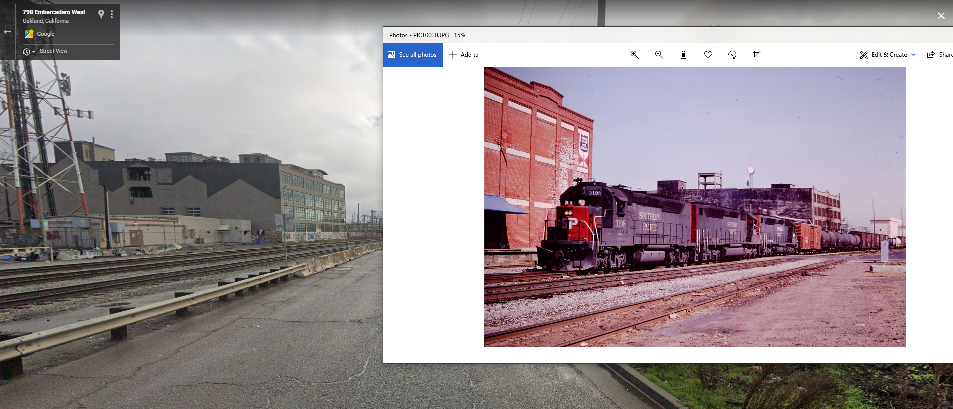 Now and then image of the Feb 1984 and Google Street View in April 2011